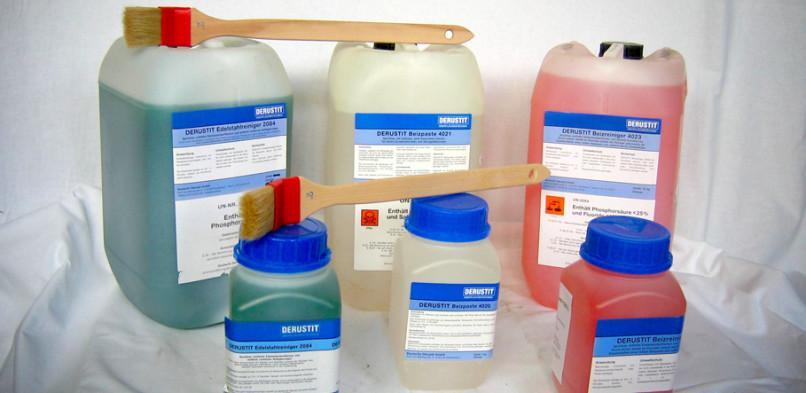 Środki do czyszczenia i odtłuszczania – Polecamy wysokiej klasy środki chemiczne firmy DERUSTIT do czyszczenia i odtłuszczania stali nierdzewnej