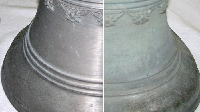 Dzwon kościelny przed i po procesie trawienia