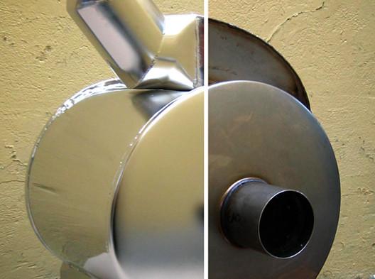 Tłumik przed i po procesie elektropolerowania
